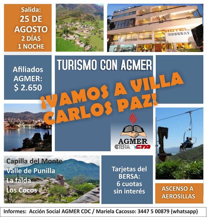 849f0e9eb Turismo: a Carlos Paz, con AGMER. Nuevos lugares de salida